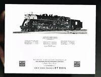"""vintage Western Pacific RailRoad Issued Picture: MOUNTAIN, Steam Engine, 8""""x10"""""""
