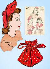 1940s Original Vintage Advance Sewing Pattern 3223 Misses Purse and Hat Set SM