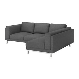 Ikea cover set for Nockeby 3-Seater Sofa with Right Chaise in Lejde Dark Grey