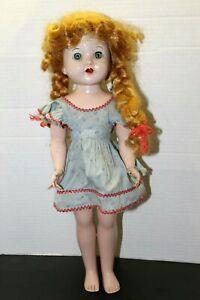"""Vintage 1950's Hard Plastic Walker Doll Red Hair Wig Sleepy Eyes Teeth 17"""" Toy"""