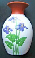 Emerson Creek Pottery 1992 Hand Crafted Redware Vase 5 & 3/8 Inch Hand Painted
