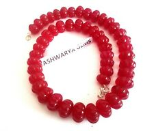 "18""Inch Necklace Red Ruby Quartz Watermelon Shape 12-15mm Smooth Gemstone Beads"