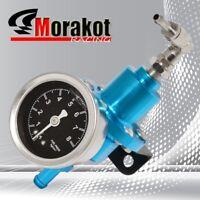 New Jdm Adjustable 1-140 Psi Fuel Pressure Regulator Kit With Liquid Gauge Blue