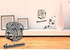 Wandtattoo Shar Pei  H389 Hundepfoten Wunschname Tatze