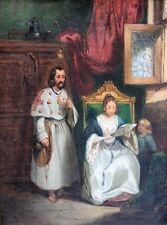 Ecole française, Troubadour, lettre, reine, tableau peinture Blanche de Castille
