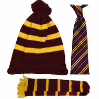 Unisex Harry Potter Maroon and Yellow Winter Scarf Hat Tie BOOK DAY MARCH
