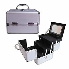 "8"" Pro Aluminum Makeup Train Case Jewelry Box Cosmetic Organizer Silver New"