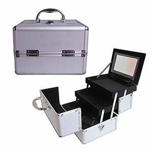 "10"" Pro Aluminum Makeup Train Case Jewelry Box Cosmetic Organizer Silver New"