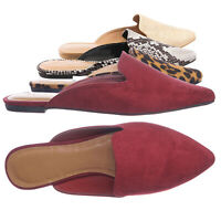 Blog44 Slip On Mule Slippers - Women Flat Backless Pointed Toe Pump