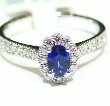 Cut White Diamond Engagement Ring Vintage 1.5Ct 14K Gold Natural Sapphire Round