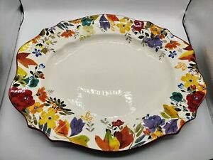 """RARE THE PIONEER WOMAN Timeless Floral Pattern Fall Flowers Turkey Platter 21"""""""