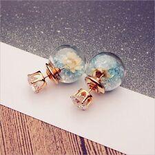 Ladies Piercing Flower Crystal Glass Earrings Studs Double Sided Earring 1Pair