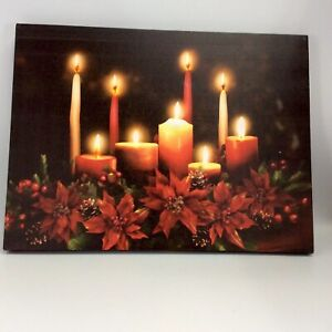 Lighted Holiday Picture Canvas Candles Poinsettias 12 X 16 Batteries Music New