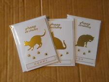 "Gold Cats ""Mother"" Theme Handmade Mini Birthday Cards"