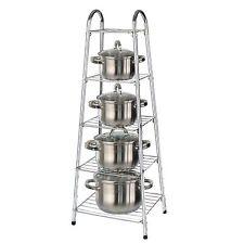 5 étages chrome cuisine pan support pot casserole stockage organiser unité rack holder