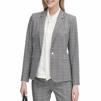 MSRP $105 Calvin Klein Women's Petite Plaid One Button Jacket Size 6P Gray