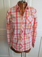 Blouse by Tommy Hilfiger Pink White Orange Plaid Button Front Size S/P