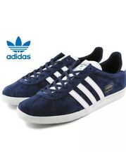BNIB Adidas Originals Gazelle Unisex Navy Blue & White Suede Trainers Size 8 UK
