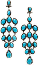 Victorian Look Silver Dangler Earring 8.20cts Rose Cut Diamond Turquoise Antique
