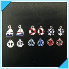 12 Enamel Sailboat Anchor Nautical Charms Jewelry Bracelets Earrings T2