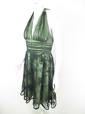 Adrianna Papell Boutique Green Black Lace Overlay Halter Cocktail Dress Petite 8