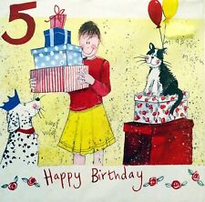 Birthday Card Age 5 Girl Presents Cat and Dog Alex Clark Artist Blank + Envelope