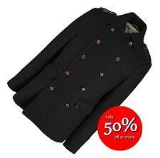Guardar £ 150+! Sterling para Hombre Chaqueta de Abrigo de Lana Cruzado Negro Medio Rrp £ 300