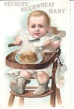 ANTIQUE TRADE CARD HECKERS' BUCKWHEAT BABY HIGH-CHAIR PANCAKES