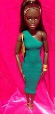 Barbie Doll Outfit: Green One Sleeve Tea Length Dress Goals Shoes Bag Bangles