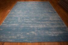 Blue Contamporary Wool Handmade Area Rug 8x11 White Stripes New Modern Rug