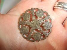 1 Single Antique Victorian Brass Large 30mm Shank Button Cut Thru Open Detailing