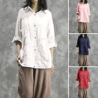 Mode Femme Chemise  Coton Couleur Unie Manche Longue Loisir Shirt Tops Plus