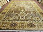 10' X 14' Hand Made Pak PESHAVAR CHOBI  Agra wool Carpet Coffee Brown Gold