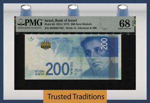 TT PK 68 2015 ISRAEL BANK OF ISRAEL 200 NEW SHEKELS PMG 68 EPQ SUPERB GEM UNC!