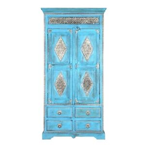 Brass Work Indian Solid Wood Cabinet With Shelves And Drawer (Made To Order)