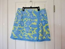 LILLY & VAN sz L Blue Chartreuse Lined PAISLEY Stretch LINED FAUX WRAP Skirt WOT