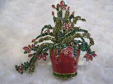 "HEIDI DAUS ""Kathy's Christmas Cactus"" Enameled Floral Pin (Orig.$159.95)"