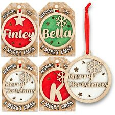 Personalised Wooden Name Hanging Christmas Tree Bauble Decoration Xmas Gift