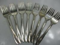 8 Wm Rogers Salad Forks Silverplate Flatware, Silverware  (A4)