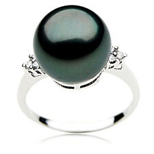 New Tahitian Black Pearl Diamond Ring Genuine 12mm Pacific Pearls® Gifts For Mum
