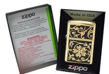 Zippo Lighter With Gold Floral Flush Emblem