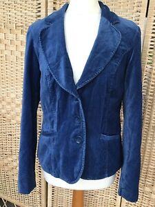 MONSOON Size 12 Polkadot Spot Dark Blue Velvet Velour Blazer Jacket Pockets