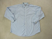 Brooks Brothers Button Up Shirt Adult Extra Large Light Blue Plaid Casual Mens *