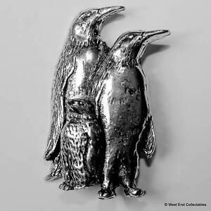 Penguin Family Pewter Pin Brooch -British Hand Crafted- Antarctica Bird Emperor
