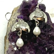 Handcrafted Sterling Silver and Freshwater Pearl Earrings - Beauties!