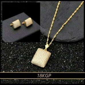 Set Kette Ohrringe Anhänger Brillant-Rechteck Kette 45+3cm 18KGP Gold vergoldet