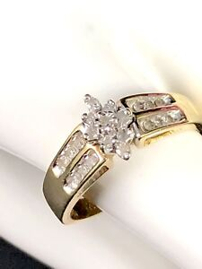 DAZZLING SIGNED 10K SOLID YELLOW GOLD .42 CTW 21 DIAMOND CLUSTER ENGAGEMENT RING