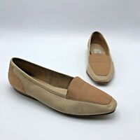 Enzo Angiolini Women Beige Suede Perforated Loafer Shoe Size 7.5M Pre Owned