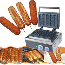 110V Commercial 5pc Lolly Waffle Maker machine Sausage Hot Dog Machine