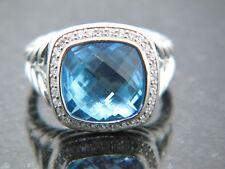 DAVID YURMAN 11 MM ALBION RING BLUE TOPAZ  DIAMONDS STERLING SILVER SZ 6 1/2